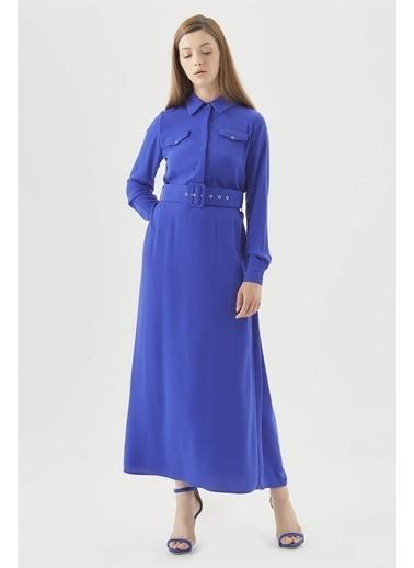 Vivencia Cepli Kuşgözü Kemerli Düğmeli Elbise  Saks